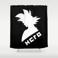 dragonball Shower Curtains featuring Goku: Hero by Sarah Sangelus
