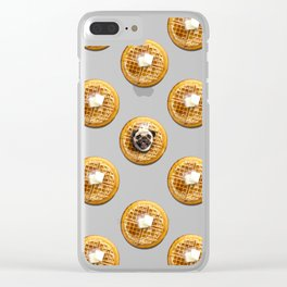 Pug Waffles Clear iPhone Case