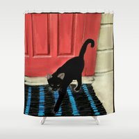 morocco Shower Curtains featuring Feles,Morocco by Yeize Studio_Seize The Day!