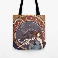 amy pond Tote Bags featuring Amelia Pond by Tune In Apparel