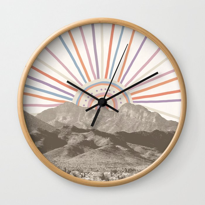 Summerlin Mountain // Abstract Vintage Mountains Summer Sun Vibe Drawing Happy Wall Hanging Wall Clock