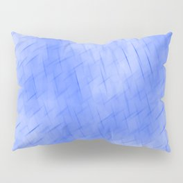 Line texture of blue oblique dashes with a dark intersection on a luminous charcoal. Pillow Sham