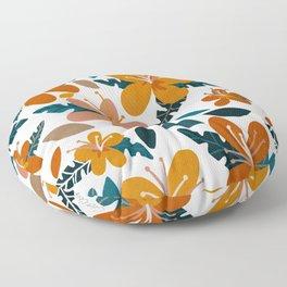 Tropical Holiday Florals – Ochre & Teal Floor Pillow