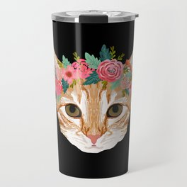 Orange Tabby cat breed with floral crown cute cat gifts cat lady must haves Travel Mug