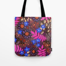 Midnight Forest Flowers Tote Bag