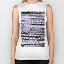 Geometrical lilac black white watercolor brushstrokes Biker Tank