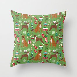 Boxer dog christmas pattern must have holiday themed dog breed pet friendly accessories for home Throw Pillow