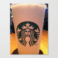 starbucks Canvas Prints featuring starbucks by vinny