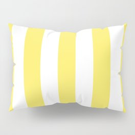 Maize yellow - solid color - white vertical lines pattern Pillow Sham