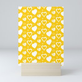 Handdrawn Hearts (Yellow/White): an exciting, fresh, fun pattern to light up your day Mini Art Print
