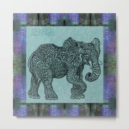 Elephant Mint Metal Print