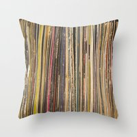 records Throw Pillows featuring Records by Cassia Beck