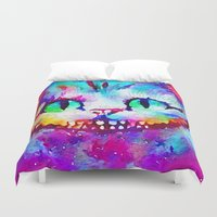 cheshire cat Duvet Covers featuring Cheshire Cat by Melanie Tassone Art