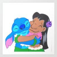 ohana Art Prints featuring Ohana by Deyanna Lambert Art