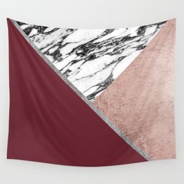 Marble Rose Gold Red Wine Triangle Geometric Wall Tapestry