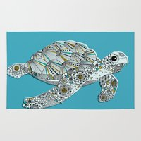 sea turtle Area & Throw Rugs featuring Sea Turtle by Rachel Russell