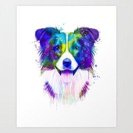 Border Collie watercolor, Watercolor Border Collie, Watercolor dog, Border Collie portrait Art Print