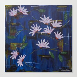 Abstract Blue With White Flowers Canvas Print