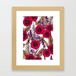 Red Poppies & Purple Flowers - Floral/Botanical Print Framed Art Print