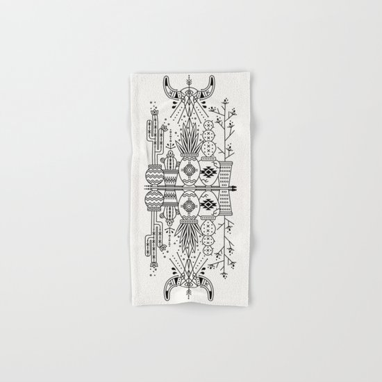 Santa Fe Garden – Black Ink Hand & Bath Towel