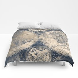 Antique World Map White Gold Navy Blue by Nature Magick Comforters