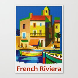 Vintage French Riviera Travel Ad Canvas Print