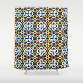 Yellow and Blue Moroccan Tile Shower Curtain