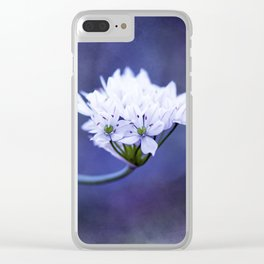 White Floral Art Clear iPhone Case