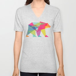 Fractal Bear - neon colorways Unisex V-Neck