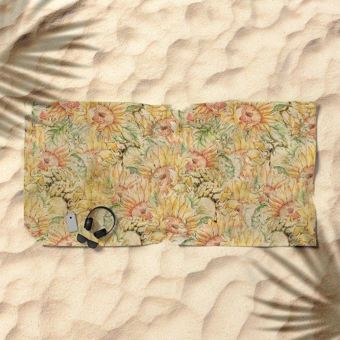 Vintage Sunflowers #1 Beach Towel