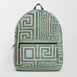Greek Key Ornament - Greek Meander - Gold and Mint Backpack