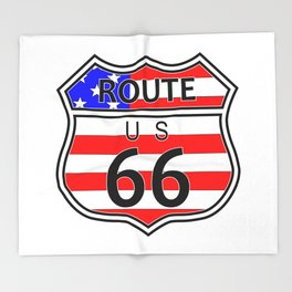 Route 66 Highway Sign With Flag Throw Blanket