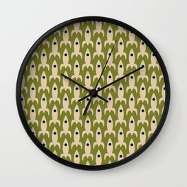 Space Age Rocket Ships - Atomic Age Mid-Century Modern Pattern in Mid Mod Beige and Olive Wall Clock