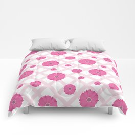 Scattered pink Gerberas on a checked tablecloth Comforters