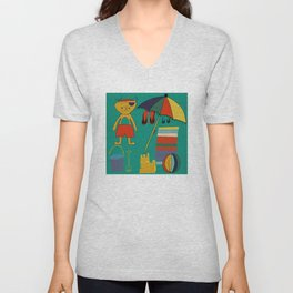 Cat pirate at the beach green Unisex V-Neck