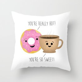 Donut and Coffee  |  Really Hot and So Sweet Throw Pillow