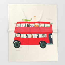 The big red bus Throw Blanket