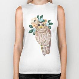 Owl with flower crown Biker Tank