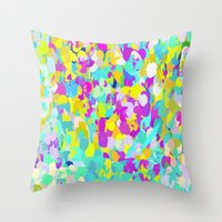 confetti Throw Pillows featuring Confetti  by Maggie Dylan