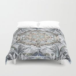 Newsprint Mandala in Silver, Topaz, and Sapphire Duvet Cover