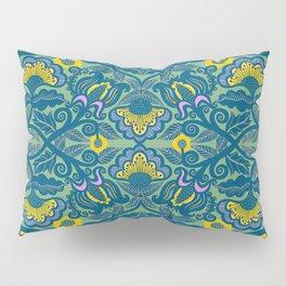 Blue Vines and Folk Art Flowers Pattern Pillow Sham