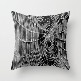 Black and White Spiders Web Throw Pillow