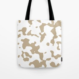 Large Spots - White and Khaki Brown Tote Bag