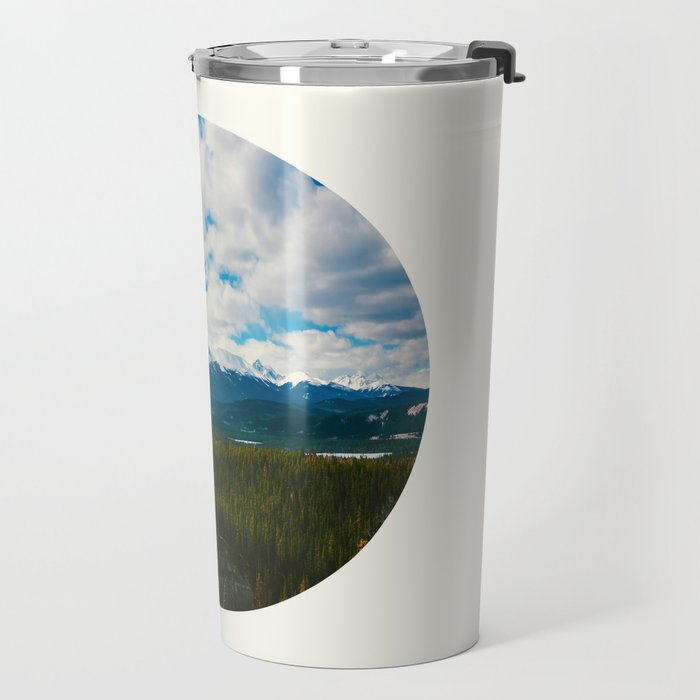 Mid Century Modern Round Circle Photo Arctic Landscape In The Summer Pine Forest Snow Mountains Travel Mug