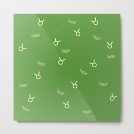 Taurus Pattern - Green Metal Print