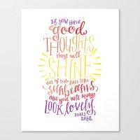 roald dahl Canvas Prints featuring You Will Always Look Lovely [Roald Dahl] by Jillian Kaye