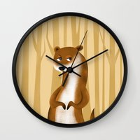 otter Wall Clocks featuring Otter by makoshark