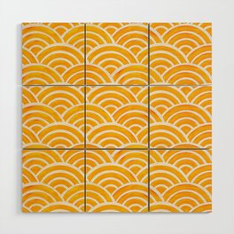 Japanese Seigaiha Wave – Marigold Palette Wood Wall Art