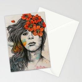 Softly Spoken Agony | flower girl pencil portrait Stationery Cards