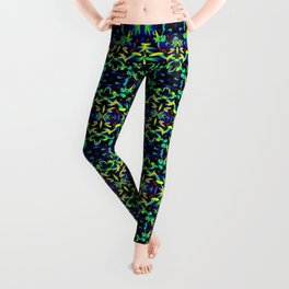 Blue Green Yellow Abstract Art Pattern Leggings